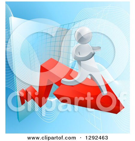 Clipart of a 3d Silver Businessman Running on a Red Arrow off of a Chart on Blue - Royalty Free Vector Illustration by AtStockIllustration