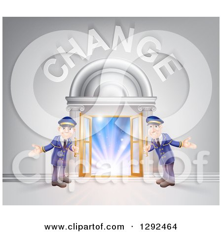 Clipart of Welcoming Door Men at an Entry Under Change Text - Royalty Free Vector Illustration by AtStockIllustration