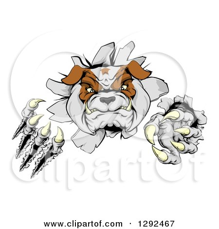 Clipart of a Tough Bulldog Monster Clawing Through a Wall - Royalty Free Vector Illustration by AtStockIllustration