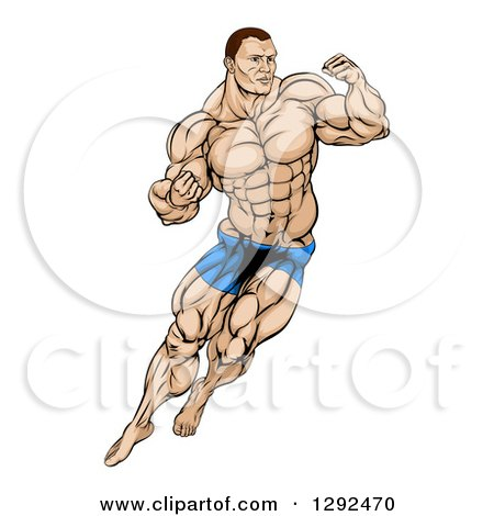 Clipart of a Muscular White Male MMA Wrestler or Fighter in Action - Royalty Free Vector Illustration by AtStockIllustration