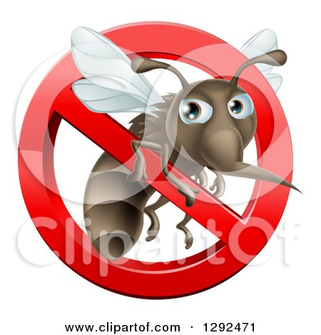 Clipart of a Mosquito Trapped in a Prohibited Symbol - Royalty Free Vector Illustration by AtStockIllustration
