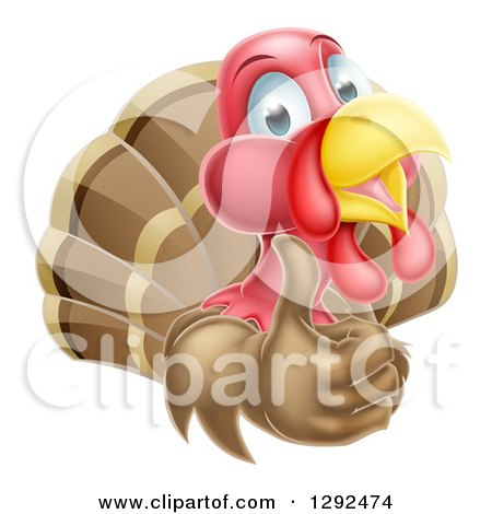 Clipart of a Happy Turkey Bird Holding up a Thumb - Royalty Free Vector Illustration by AtStockIllustration