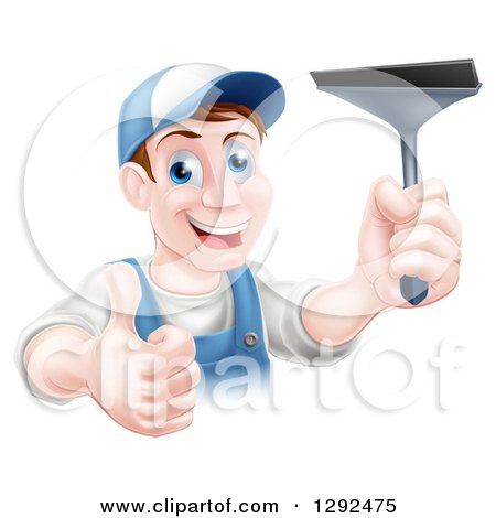 Clipart of a Happy Middle Aged Brunette Caucasian Window Cleaner Man Holding a Squeegee and a Thumb up - Royalty Free Vector Illustration by AtStockIllustration