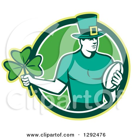 Clipart of a Retro Irish Rugby Player with a Ball and Shamrock in a Green and White Circle - Royalty Free Vector Illustration by patrimonio