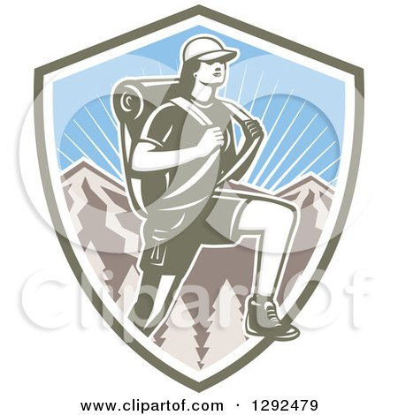 Clipart of a Retro Woodcut Female Hiker over Mountains and Sunshine in a Shield - Royalty Free Vector Illustration by patrimonio