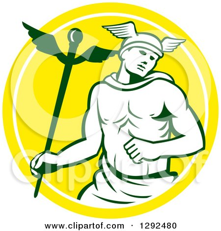 Clipart of a Retro Hermes with a Caduceus in a Yellow and White Circle - Royalty Free Vector Illustration by patrimonio