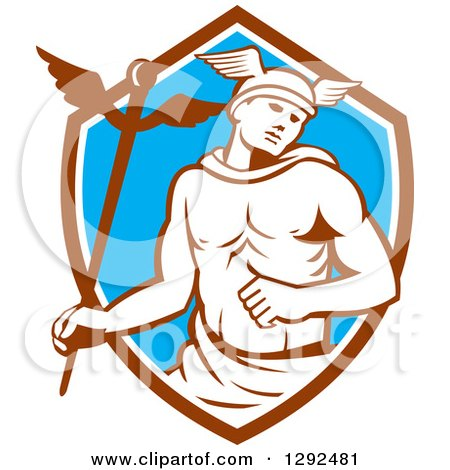 Clipart of a Retro Hermes with a Caduceus in a Brown White and Blue Shield - Royalty Free Vector Illustration by patrimonio