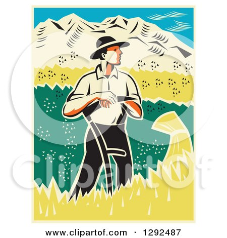Clipart of a Retro Woodcut Male Farmer Standing and Resting on a Scythe in a Wheat Crop - Royalty Free Vector Illustration by patrimonio