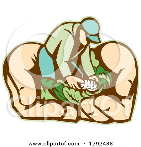 Clipart of a Retro Cartoon Male Gardener with Vegetables in Giant Hands - Royalty Free Vector Illustration by patrimonio