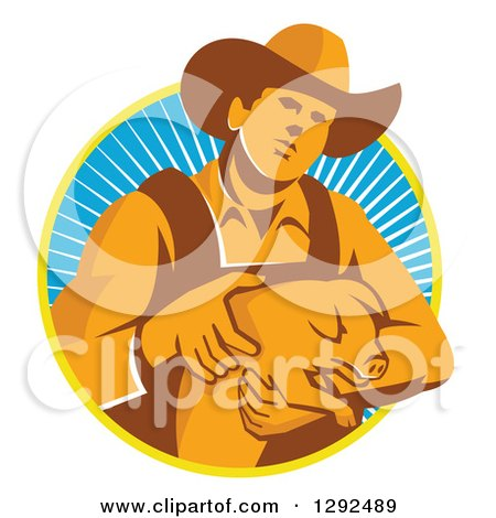 Clipart of a Retro Male Farmer Holding a Piglet in a Yellow White and Blue Circle of Rays - Royalty Free Vector Illustration by patrimonio