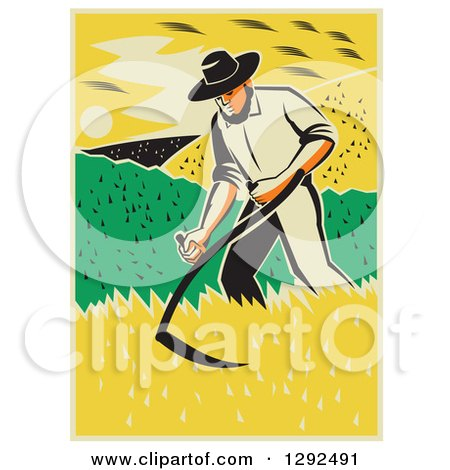 Clipart of a Retro Male Famer Using a Scythe and Harvesting a Crop - Royalty Free Vector Illustration by patrimonio