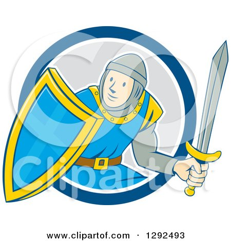Clipart of a Cartoon Male Knight in Armor, Holding a Sword and Shield and Emerging from a Blue White and Gray Circle - Royalty Free Vector Illustration by patrimonio