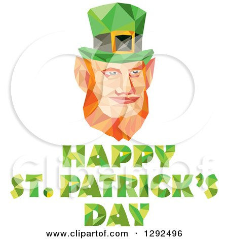 Clipart of a Geometric Red Haired Leprechaun Face over Happy St Patricks Day - Royalty Free Vector Illustration by patrimonio