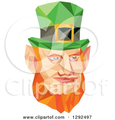 Clipart of a Geometric Red Haired St Patricks Day Leprechaun Face - Royalty Free Vector Illustration by patrimonio