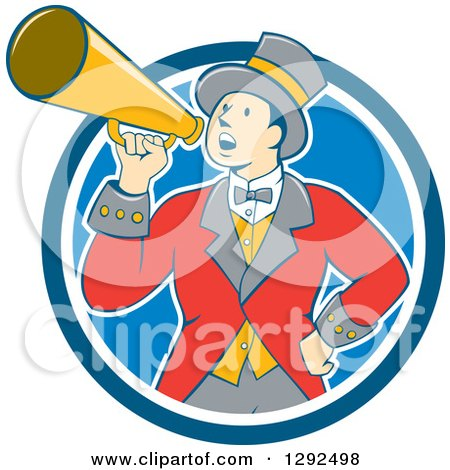 Clipart of a Retro Cartoon White Male Circus Ringmaster Announcing Through a Bullhorn in a Blue and White Circle - Royalty Free Vector Illustration by patrimonio