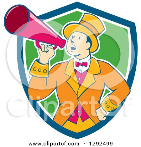 Clipart of a Retro Cartoon White Male Circus Ringmaster Announcing Through a Bullhorn in a Blue White and Green Shield - Royalty Free Vector Illustration by patrimonio
