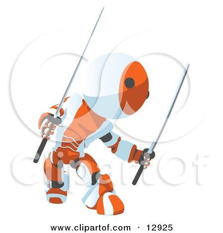 Defensive Orange Metal Robot Ninja Fighting With Swords Clipart Illustration