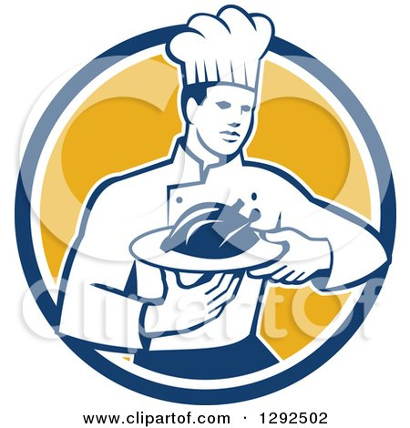 Clipart of a Retro Male Chef Carrying a Roasted Chicken on a Platter in a Blue White and Yellow Circle - Royalty Free Vector Illustration by patrimonio