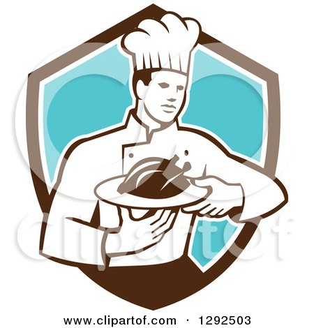 Clipart of a Retro Male Chef Carrying a Roasted Chicken on a Platter in a Brown White and Blue Shield - Royalty Free Vector Illustration by patrimonio