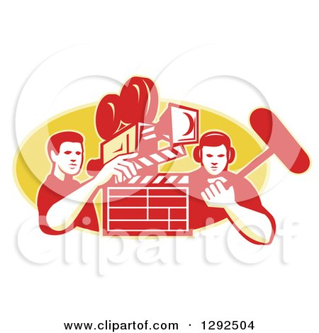 Clipart of a Retro Male Cameraman Filming and Holding a Clapper, with a Boom Man over a Yellow Oval - Royalty Free Vector Illustration by patrimonio