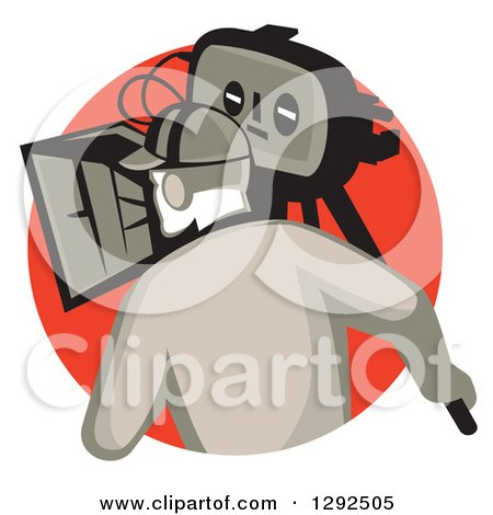 Clipart of a Rear View of a Retro Cameraman Filming in a Red Circle - Royalty Free Vector Illustration by patrimonio