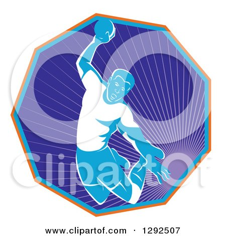 Clipart of a Retro Male Handball Player Jumping and Preparing to Throw the Ball in a Hexagon of Rays - Royalty Free Vector Illustration by patrimonio