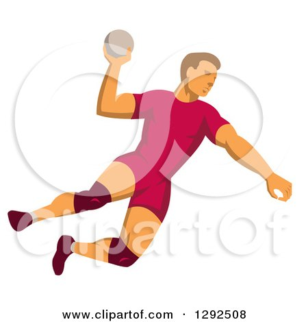 Clipart of a Retro Male Handball Player Jumping and Preparing to Throw the Ball - Royalty Free Vector Illustration by patrimonio