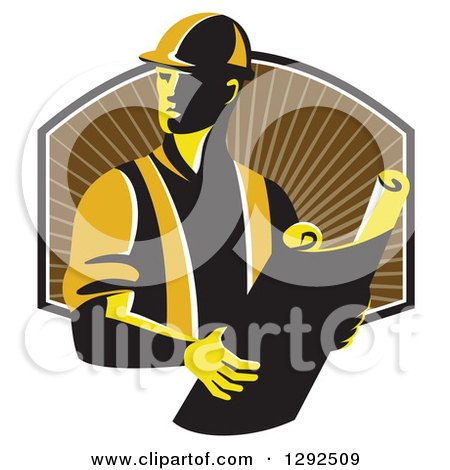 Clipart of a Retro Male Construction Worker Foreman Holding Plans over a Shield of Brown Rays - Royalty Free Vector Illustration by patrimonio