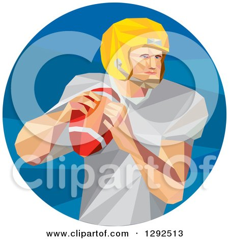 Clipart Of A Geometric White American Football Player Throwing In A Blue Circle Royalty Free Vector Illustration