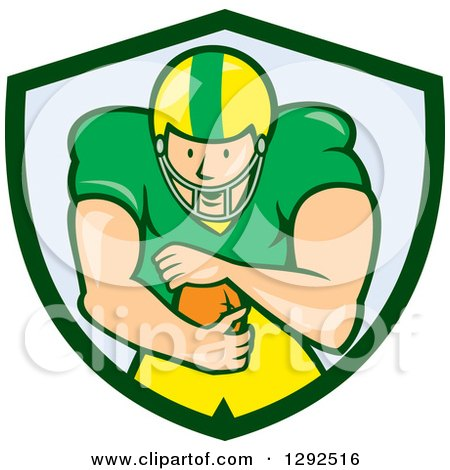 Clipart Of A Cartoon White Male American Football Player Running Back In A Green And Blue Shield Royalty Free Vector Illustration