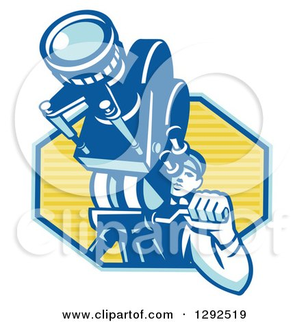 Clipart of a Retro Male Cameraman Filming in a Blue and Yellow Hexagon - Royalty Free Vector Illustration by patrimonio
