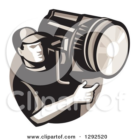 Clipart of a Retro Male Film Crew Worker Holding a Spotlight Fresnel in a Circle - Royalty Free Vector Illustration by patrimonio