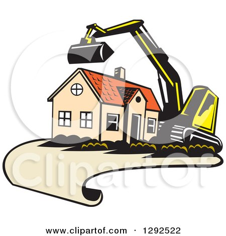 Clipart of a Cartoon Excavator and House on a Blueprint Page - Royalty Free Vector Illustration by patrimonio