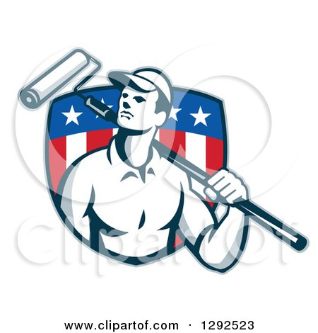 Clipart of a Retro Male House Painter with a Roller Brush over His Shoulder in an American Flag Shield - Royalty Free Vector Illustration by patrimonio