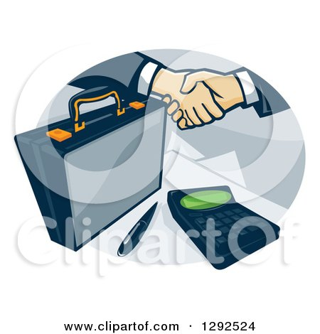 Clipart of a Briefcase and Handshake with a Calculator in an Oval - Royalty Free Vector Illustration by patrimonio