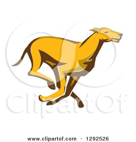 Clipart of a Retro Cartoon Greyhound Dog Running - Royalty Free Vector Illustration by patrimonio