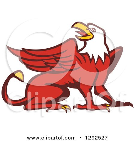 Clipart of a Retro Cartoon Styled Griffin - Royalty Free Vector Illustration by patrimonio