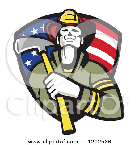Clipart of a Retro Fireman Holding an Axe in an American Flag Shield - Royalty Free Vector Illustration by patrimonio