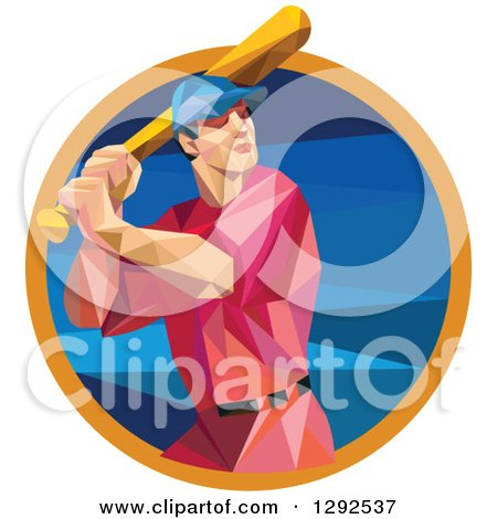 Clipart of a Geometric White Male Baseball Player Batting Inside a Blue Orange Circle - Royalty Free Vector Illustration by patrimonio