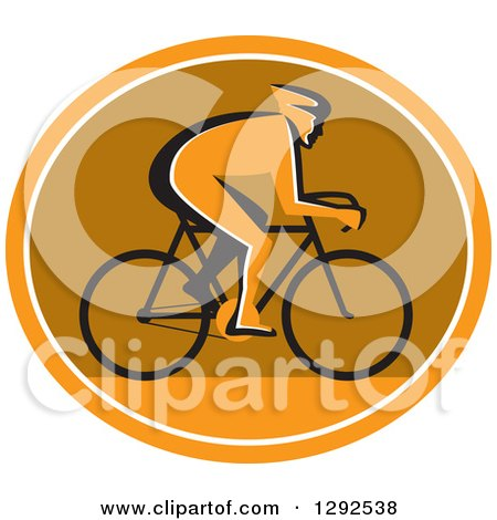 Clipart of a Silhouetted Cyclst in Profile Inside an Orange White and Brown Oval - Royalty Free Vector Illustration by patrimonio