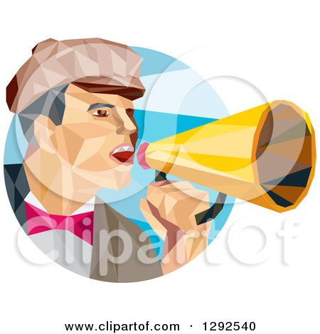 Clipart of a Geometric White Male Director Using a Bullhorn in a Blue Circle - Royalty Free Vector Illustration by patrimonio
