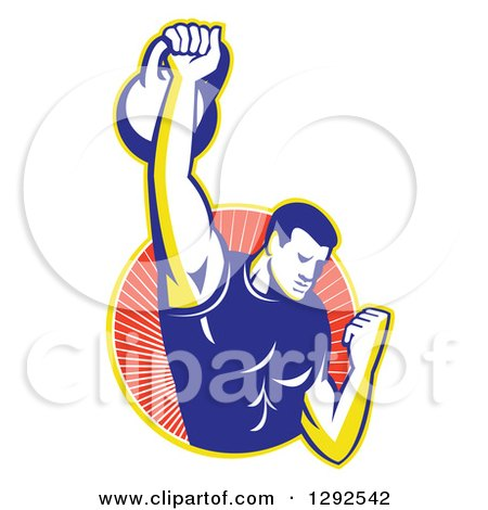 Clipart of a Retro Male Bodybuilder Lifting a Kettlebell and Emerging from a Yellow and Red Ray Circle - Royalty Free Vector Illustration by patrimonio