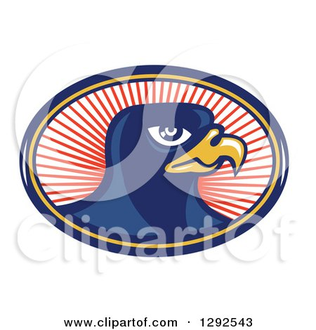 Clipart of a Retro Falcon Head in a Blue Yellow and Red Oval of Rays - Royalty Free Vector Illustration by patrimonio
