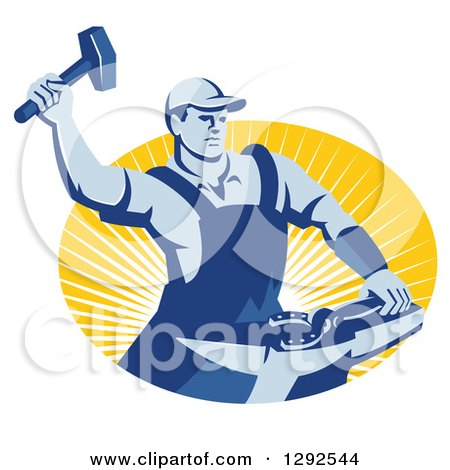 Clipart of a Retro Blue Male Farrier Hammering a Horseshoe in an Oval of Yellow Sunshine - Royalty Free Vector Illustration by patrimonio