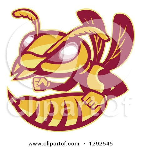 Clipart of a Retro Angry Female Hornet or Wasp - Royalty Free Vector Illustration by patrimonio
