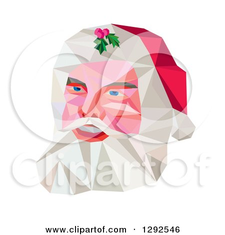 Clipart of a Geometric Christmas Santa Claus Face - Royalty Free Vector Illustration by patrimonio