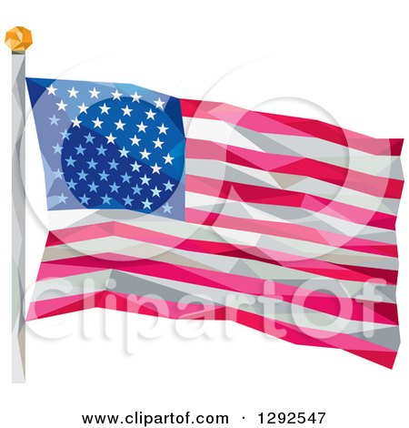 Clipart of a Geometric American Flag on a Pole - Royalty Free Vector Illustration by patrimonio
