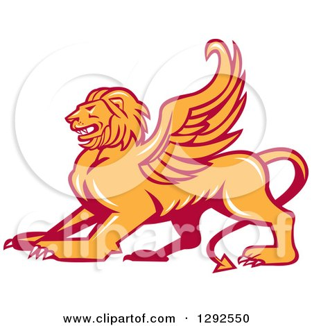 Clipart of a Fierce Winged Lion - Royalty Free Vector Illustration by patrimonio