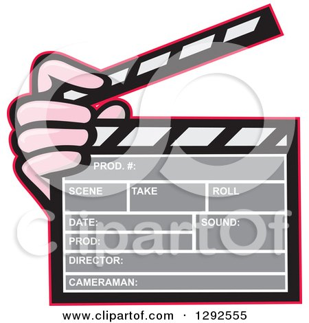 Clipart of a Cartoon Hand Holding a Clapperboard - Royalty Free Vector Illustration by patrimonio