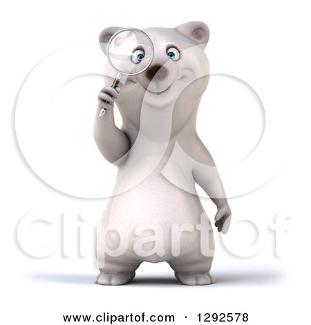 Clipart of a 3d Happy Polar Bear Searching with a Magnifying Glass - Royalty Free Illustration by Julos